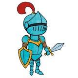 Caballero de la historieta en armadura con la espada y el escudo Aislado Imagenes de archivo