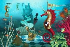Caballero del ajedrez en el mundo subacuático Foto de archivo