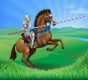 Caballero en caballo con la lanza Imagenes de archivo