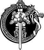 Caballero en Dragon Circle ilustración del vector