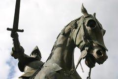 Caballero en su caballo - en Francia Foto de archivo libre de regalías