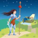 Caballero femenino activo Stock de ilustración