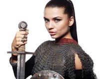 Caballero femenino en armadura Imágenes de archivo libres de regalías