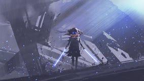 Caballero futurista con las espadas gemelas contra fondo de los edificios libre illustration