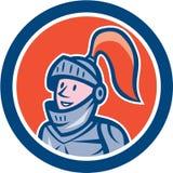 Caballero Head Armor Circle Cartoon Foto de archivo
