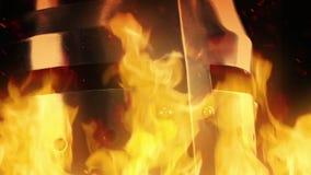 Caballero Helmet In Flames almacen de metraje de vídeo