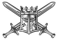 Caballero Helmet y ejemplo cruzado de las espadas stock de ilustración