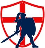 Caballero inglés Silhouette England Flag retro Fotografía de archivo