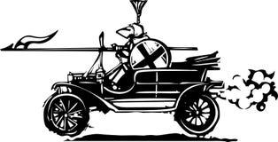 Caballero Jousting en un coche Imagenes de archivo