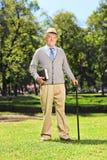 Caballero mayor que presenta en parque Fotos de archivo