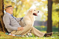 Caballero mayor y su perro que se sientan en la tierra en parque Foto de archivo