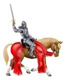 Caballero medieval de la espada en caballo Fotos de archivo