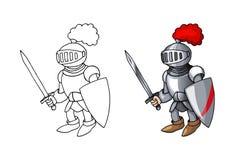 Caballero medieval de la historieta con el escudo y la espada, aislados en el fondo blanco stock de ilustración