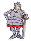 Caballero regordete de la historieta en armadura Foto de archivo libre de regalías