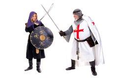 Caballero Templar y musulmanes Fotografía de archivo libre de regalías