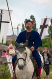 Caballero teutónico en caballo Fotos de archivo libres de regalías
