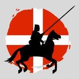 Caballero Warrior Silhouette de Inglaterra en el fondo blanco Imagen de archivo
