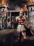 Caballero y castillo medievales ilustración del vector