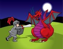 Caballero y dragón rojo Fotografía de archivo libre de regalías