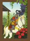 Caballero y espectro dentro del jardín ilustración del vector