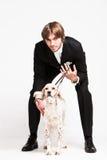 Caballero y perro Fotos de archivo