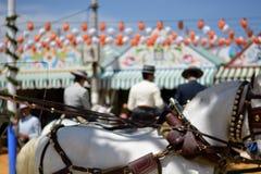 Caballeros, carros, caballos en los festivales españoles tradicionales fotos de archivo libres de regalías