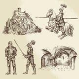 Caballeros de la Edad Media Imagenes de archivo