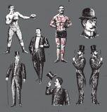 Caballeros dibujados mano del vintage fijados stock de ilustración