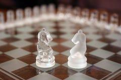Caballeros en el tablero de ajedrez Imagen de archivo