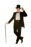 Caballeros en juego con el sombrero superior y el bastón fotos de archivo libres de regalías