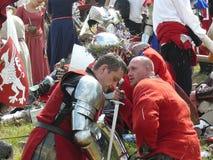 Caballeros en la reconstrucción de la batalla de Grunwald Imagenes de archivo