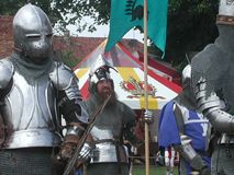 Caballeros Jousting en el castillo teutónico Imagen de archivo