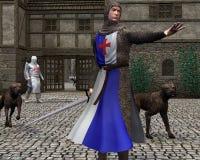 Caballeros medievales o normandos que guardan una puerta del castillo Foto de archivo