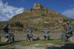 Caballeros que se sientan de la fortaleza cuatro de Gori imágenes de archivo libres de regalías