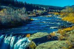 Caballete que cruza sobre el río de Crowsnest Foto de archivo libre de regalías