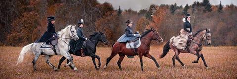 Caballo-caza con las señoras en hábito de montar a caballo Fotos de archivo libres de regalías