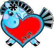 Caballo de la historieta con el corazón del amor Foto de archivo libre de regalías