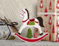 Caballo de madera del juguete de la Navidad Imagenes de archivo