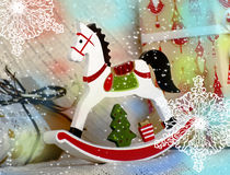 Caballo de madera del juguete de la Navidad Fotografía de archivo libre de regalías