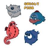 Caballo de mar, tiburón, pescados dentudos y pescados de grandes ojos lindos ilustración del vector