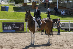 Caballo de montar a caballo de la muchacha Fotografía de archivo