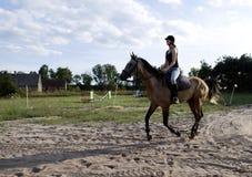 Caballo de montar a caballo de la mujer Fotografía de archivo