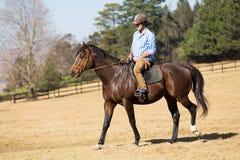 Caballo de montar a caballo del hombre Imagenes de archivo