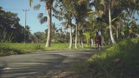 Caballo de montar a caballo del hombre del Balinese en el camino entre las palmeras almacen de video