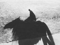 Caballo de montar a caballo del hombre en blanco y negro Fotos de archivo