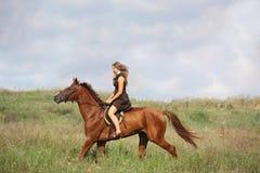 Caballo de montar a caballo hermoso del adolescente en el campo Imágenes de archivo libres de regalías