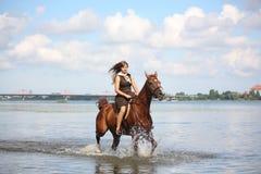 Caballo de montar a caballo hermoso del adolescente en el río Foto de archivo libre de regalías