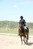 Caballo de montar a caballo negro del adolescente Imagen de archivo