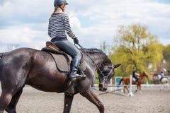 Caballo de montar a caballo de la muchacha en su curso en el salto de la demostración Foto de archivo