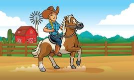 Caballo de montar a caballo de la vaquera en el rancho ilustración del vector